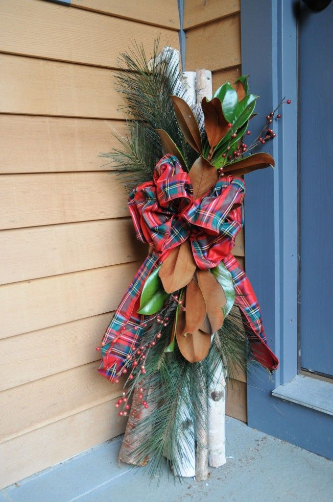 white birch Christmas decoration for the porch. Would do something like this but BETTER!