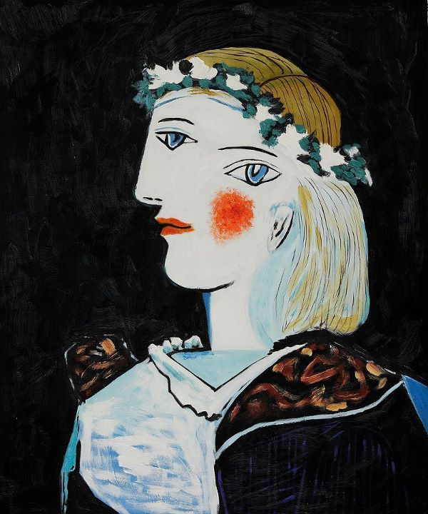 fleshandthedevil: Pablo Picasso: Portrait of Marie-Thérèse Walter with Garland, 1937.