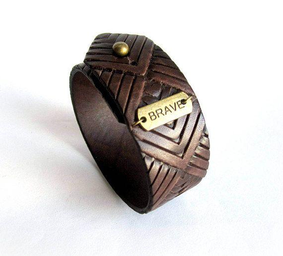 Mens brown leather bracelet brave bracelet mens embossing