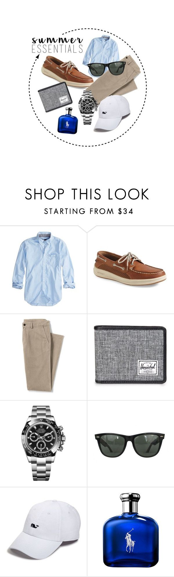 """men's summer outfit (preppy)"" by izzy-yang-art ❤ liked on Polyvore featuring American Eagle Outfitters, Sperry, Lands' End, Herschel Supply Co., Rolex, Ray-Ban, Vineyard Vines, Ralph Lauren, men's fashion and menswear"