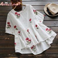 Amourlymei 2017 Summer New Style Women's Mori Girl White Cotton Linen Flowers Embroidered O-neck Short-sleeved Shirt Tops Female