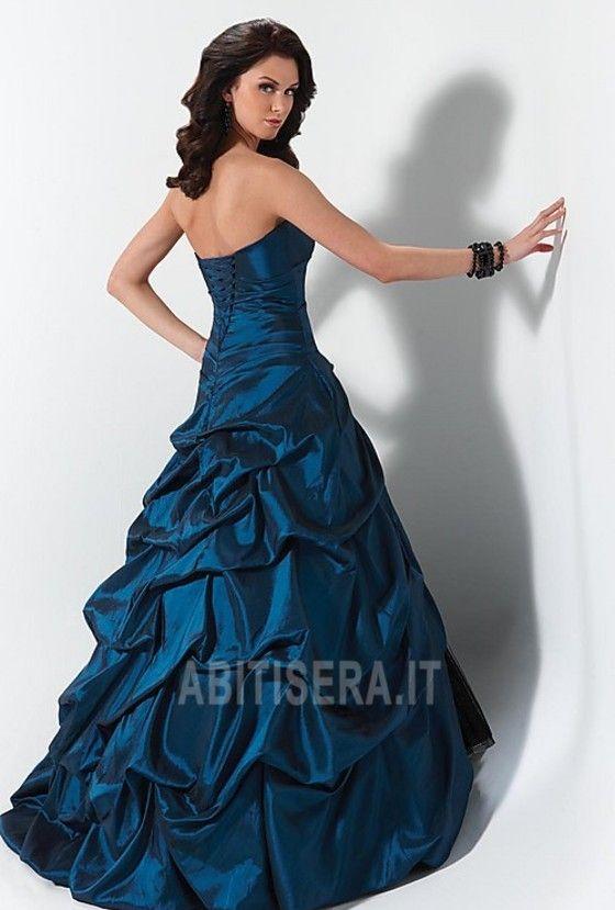 Abito da ballo Vintage Spazzola Treno Ball Gown Blu marino Naturale