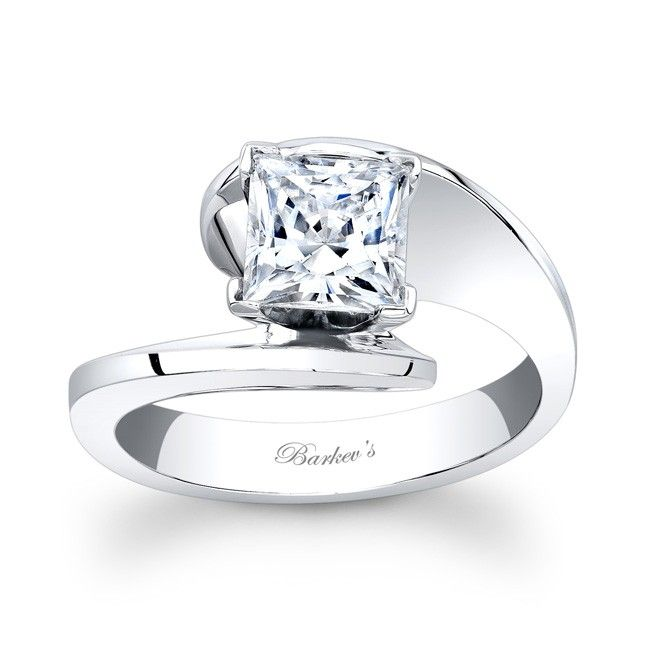 Diamond Solitaire Ring - 7834LW - A modern twist on a vintage bypass ring this solitaire engagement ring is a dazzler.  The prong set princess cut diamond center nestles between the split flared, rounded ridges of the bright polished shank for a stunning look.  Also available in yellow gold, 18k and Platinum.