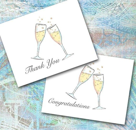 champagne toast note cards design your own thank you