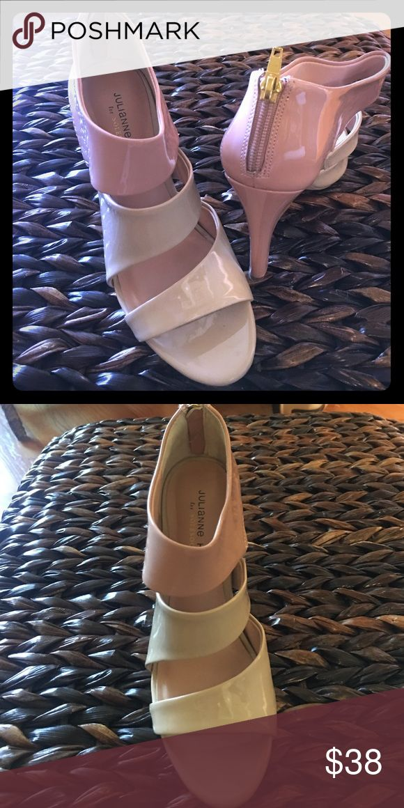 Sole Society patent nude & tan high heels High heel spike with back zipper Sole Society Shoes Heels