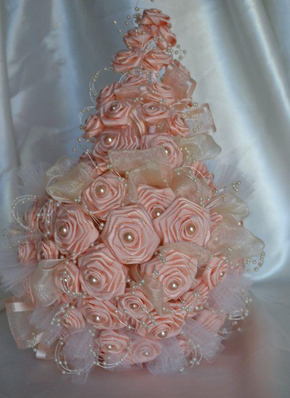 Bridal Bouquet In Mumbai : Wedding bouquet cascading satin peach accessory with