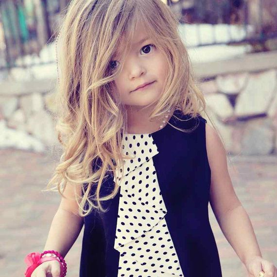 Black Jumper Dress with Polka Dot Cascading