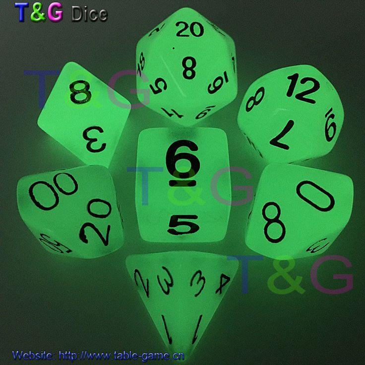 Wholesales 7pc/lot Glow in the dark RPG Digital Dice Set D4,d6,d8,d10,d10%,d12,d20 for Board Game Orange,purple,blue,light green