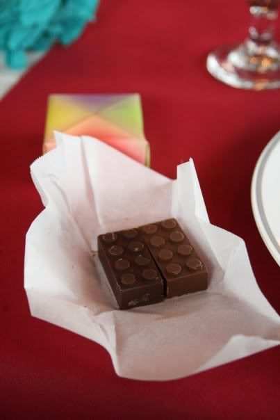 simply by pouring melted chocolate into a Lego ice tray. So easy! So DIY! So very Lego!: