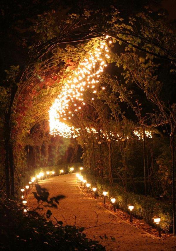 tunning illuminated wedding walkway ideas for garden and woodland weddings