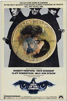 Three Days Of The Condor, 1975, Sydney Pollack (Robert Redford, Faye Dunaway). http://en.wikipedia.org/wiki/Three_Days_of_the_Condor