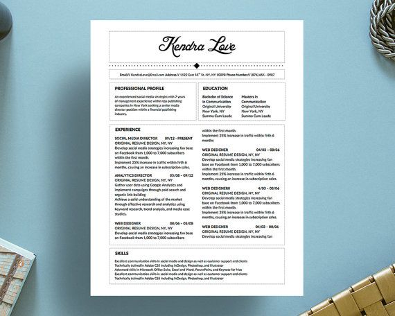 kendra love resume template for microsoft word with matching cover