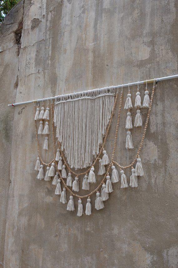 Tassel Wall Decorations Wood Bead Garland Tassels Hanging Macrame