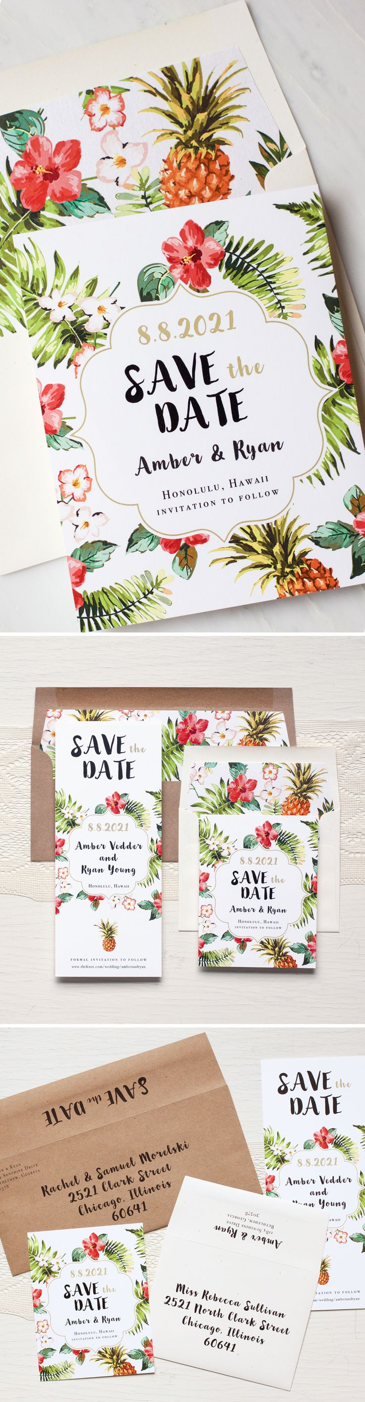 Aloha! Inspired by one of our favorite fruits, Pineapple Paradise save the dates are oh so cute. Layered with fresh tropical prints and hand written inspired fonts.