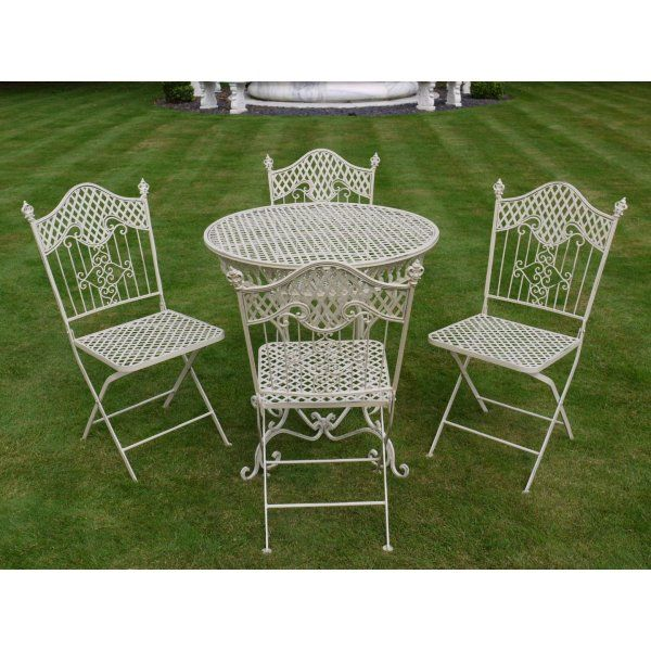 cream shabby chic french looking garden table set with 4 chairs great look
