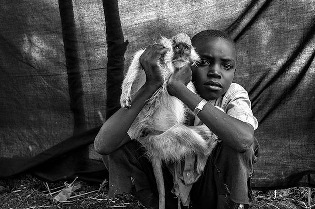 Ahmed tem 10 anos e escolheu seu macaco de estimação, Kako. Ele não imagina sua vida sem o macaco, companheiro de viagem durante os cinco dias em que foram na traseira de um caminhão desde Taga até à fronteira do Sudão do Su | http://www.hypeness.com.br/2013/03/serie-de-fotos-mostra-refugiados-e-os-objetos-mais-importantes-de-suas-vidas/