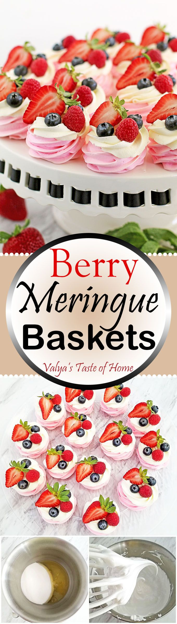 These Berry Meringue Baskets Recipe look beautiful on the dessert table and are a huge hit. EVERY TIME. So, make your mom smile this coming up Mother's Day. Berries go hand in hand with the smooth cream, and the delightful crunch of the sweet meringue that just melts in your mouth.
