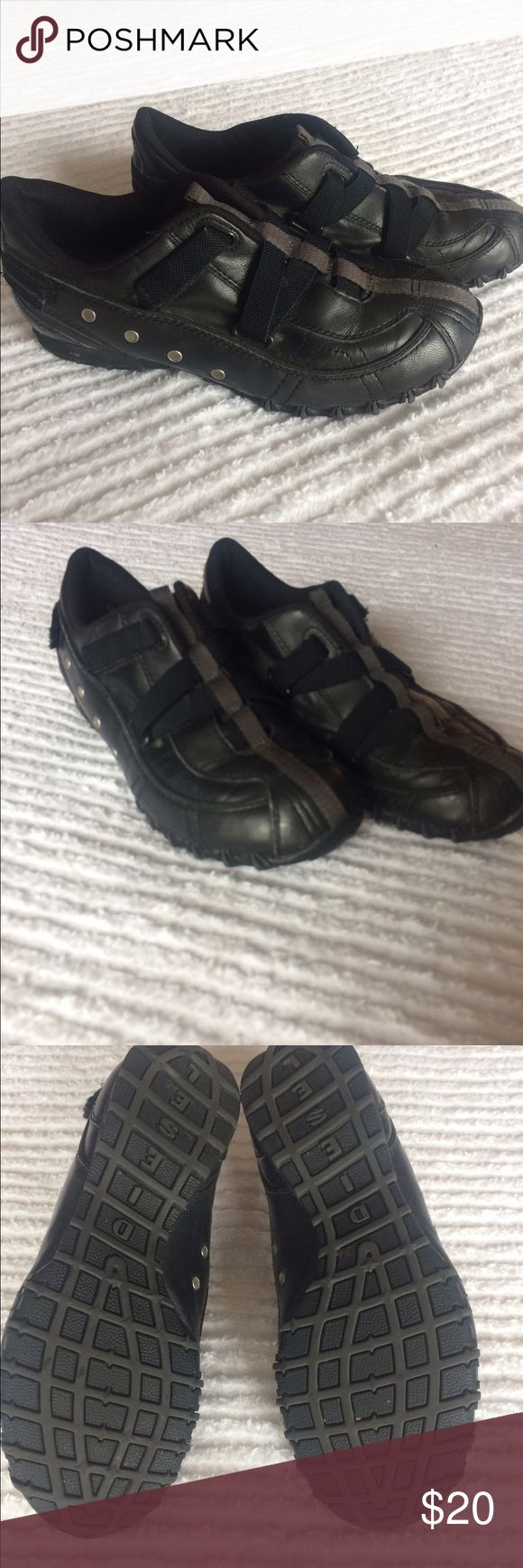 Diesel black leather shoes 6.5 Authentic Diesel black leather slip on shoes. Size 6.5, amazing condition. Too small for me. Diesel Shoes Sneakers