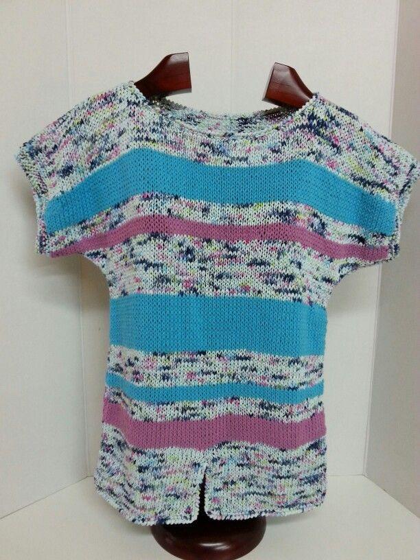 Jersey de verano tejido con cinta tahiti spray y alabama  de #katia