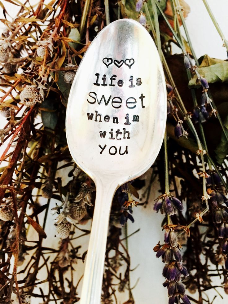 Life Is Sweet When I'm With You Stamped Spoon, Stamped Coffee Spoon, Wedding Gift, Bridal Shower Gift, Sugar Spoon, Husband Anniversary Gift by SweetThymeDesign on Etsy