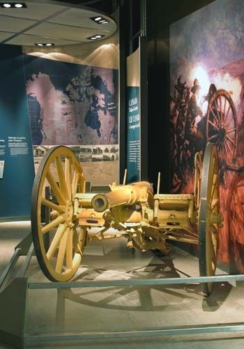 "12-pounder field gun in the collection of the Canadian War Museum. This is the No. 5 Gun actually used by ""D"" Battery, RCFA at Leliefontein."