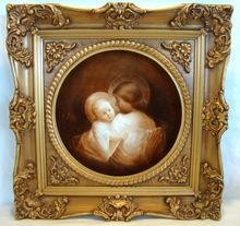 """Unique 11 5/8"""" Limoges Portrait Tray / Charger with Frame~ Hand Painted with Madonna and Jesus in Sepia Tones ~Limoges Porcelain ~ Artist Signed ~ Tressemann & Vogt Limoges France 1892-1907 www.timberhillsantiques.com"""