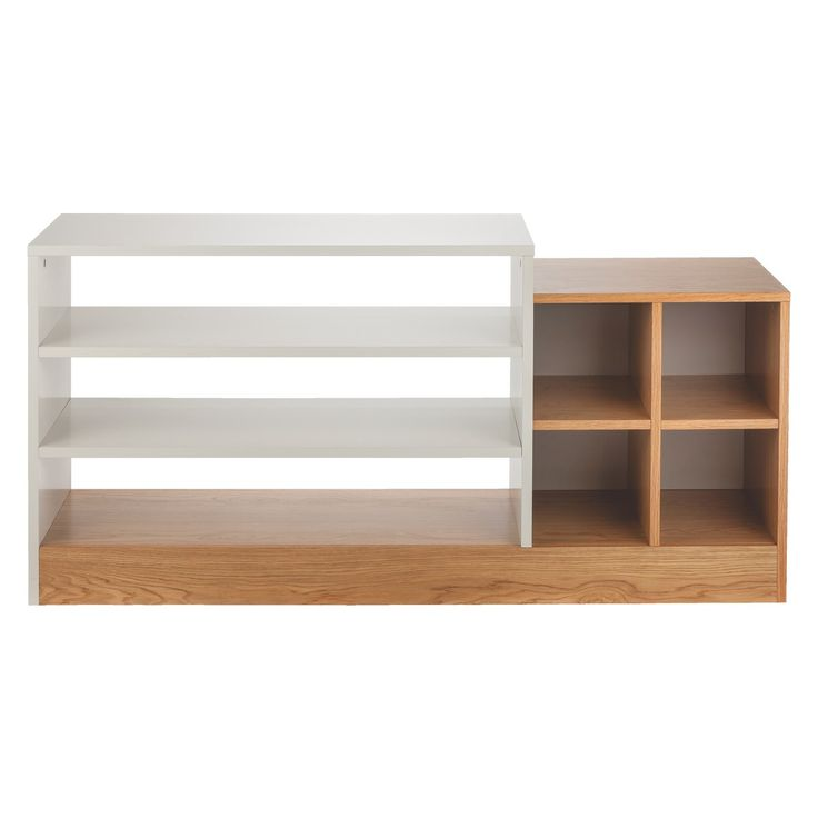 MILES Oak and linen white low shelving unit | Buy now at Habitat UK