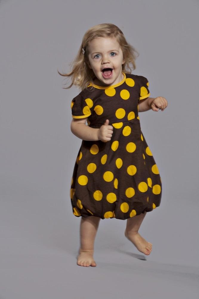 Puffi Dress- Brown/Yellow