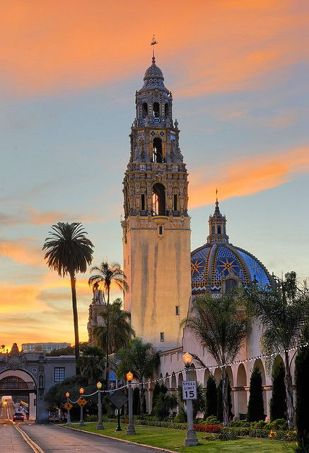 California Tower in Balboa Park at sunset, San Diego