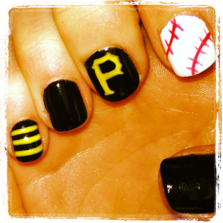 Pirate nail art baseball nails