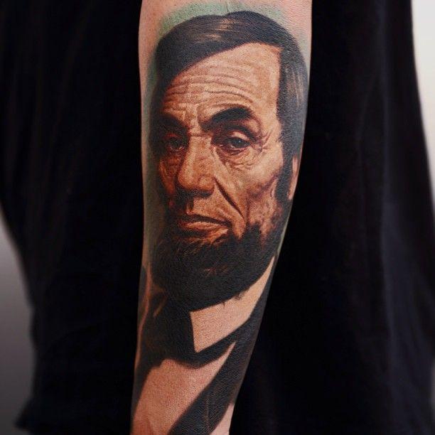 Abraham lincoln tattoo by nikko hurtado nikko hurtado for Body art tattoos lincoln