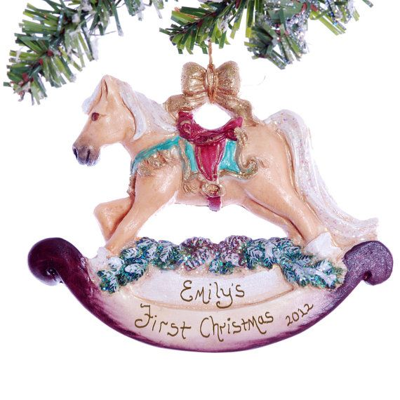 Babies First Christmas Ornament  Rocky Horse by Christmaskeeper