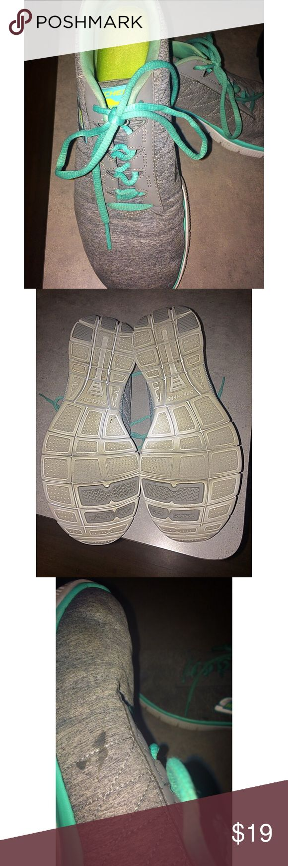 Sketchers Memory Foam Sneakers- Gray & Mint Green Memory foam soles. SO comfortable. In good, used condition. Only one small spot on one shoe as shown. Skechers Shoes Athletic Shoes