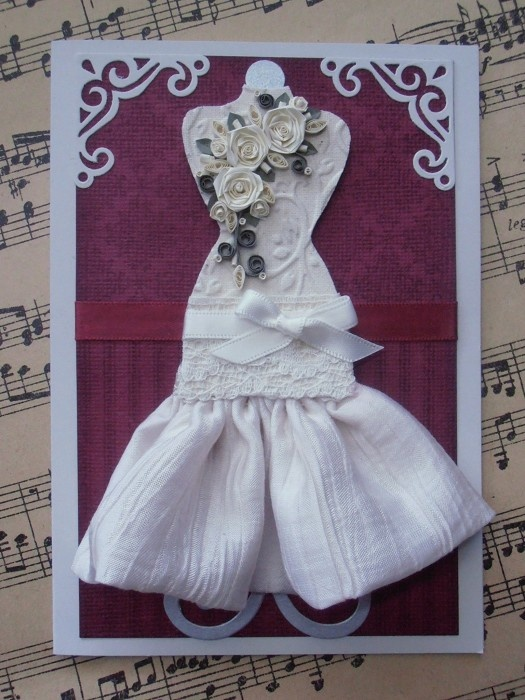 Mannequin Dress Form Handmade Card with Paper Roses - Suitable for Any Occasion…