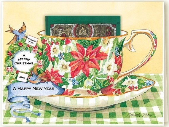 Christmas Wishes Tea Cup Greeting Card by Kimberly Shaw Graphics with delicious Holiday Tea: