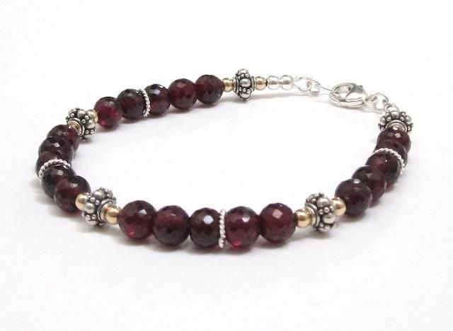 Gorgeous Red Garnets, Bali Sterling Silver and Gold Bracelet