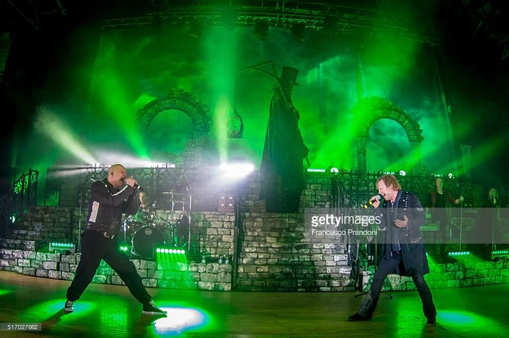 Guest singer Michael Kiske and Tobias Sammet of Avantasia perform on March 22, 2016 in Milan, Italy.