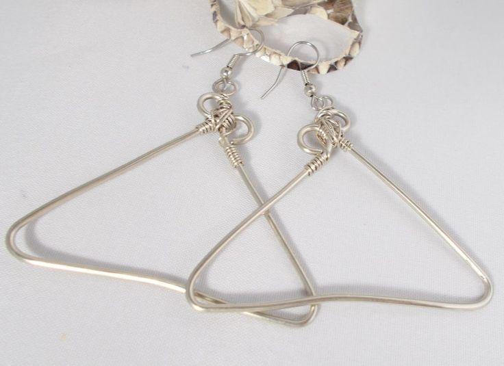 J Norahz Silver Triangular Shaped Wire Wrap Artisan Earrings #JNorahz #Wrap