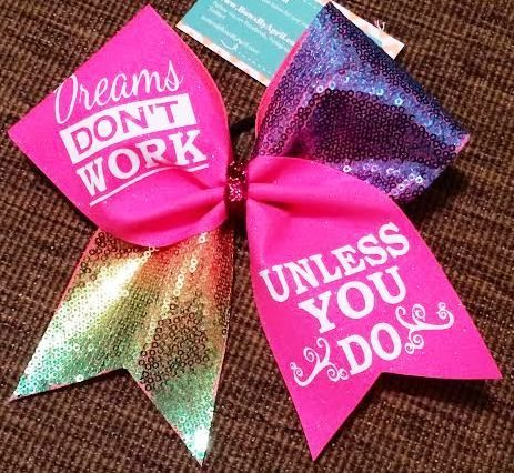 Bows by April - Dreams Don't Work Unless You Do Neon Pink Glitter and Rainbow Sequins Cheer Bow, $19.00 (http://www.bowsbyapril.com/dreams-dont-work-unless-you-do-neon-pink-glitter-and-rainbow-sequins-cheer-bow/)