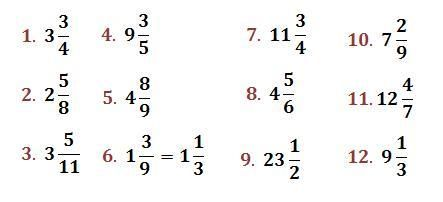Resultado de imagen para como convertir fracciones mixtas a impropias