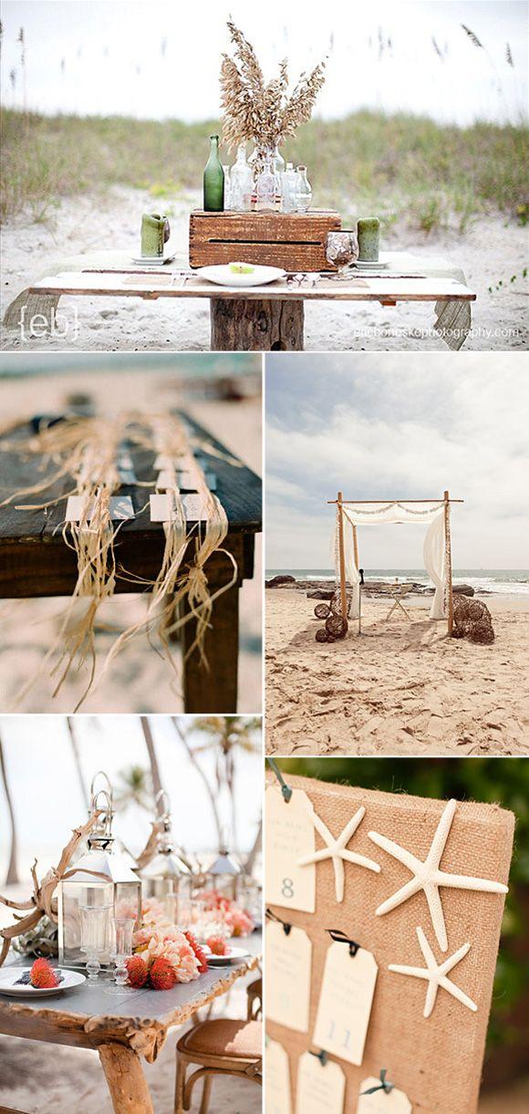 Ideas para decorar bodas en la playa y darle ese toque marinero y romántico que buscáis utilizando conchas,estrellas de mar, arena y redes marineras.
