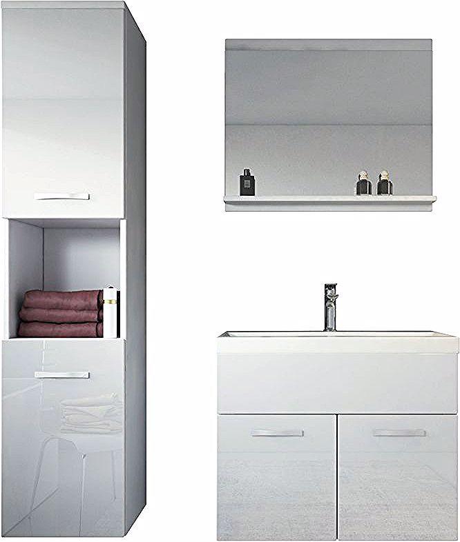 Meuble De Salle De Bain Montreal 60 Cm Lavabo Blanc Brillant Armoire De Rangement Meuble Lavabo Evi Lighted Bathroom Mirror Bathroom Mirror Bathroom Lighting