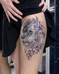Beautiful lion tattoo by Anna Yershova