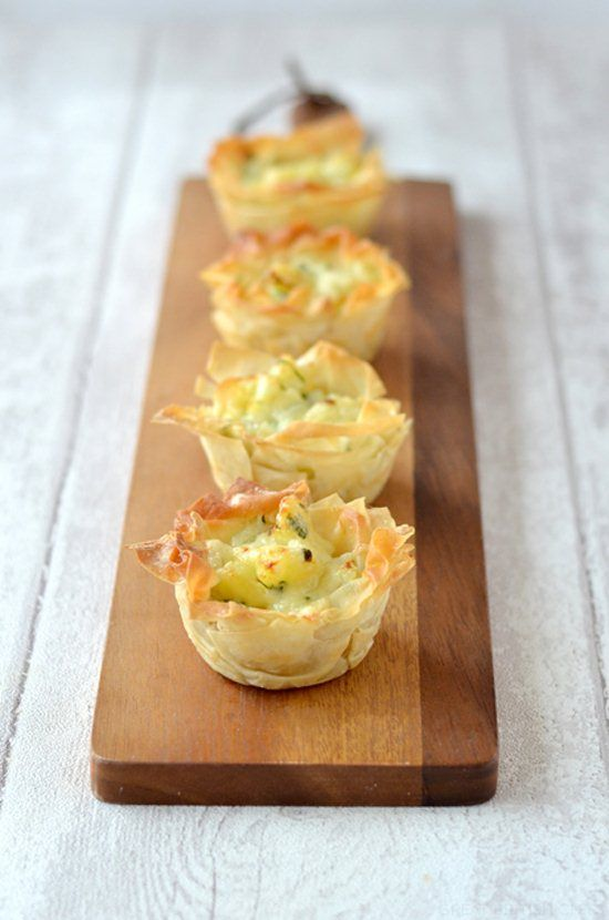 Homity Pies are a wartime speciality traditionally made with shortcrust pastry.  For a special treat try these mini and lighter versions using filo pastry for the crust.