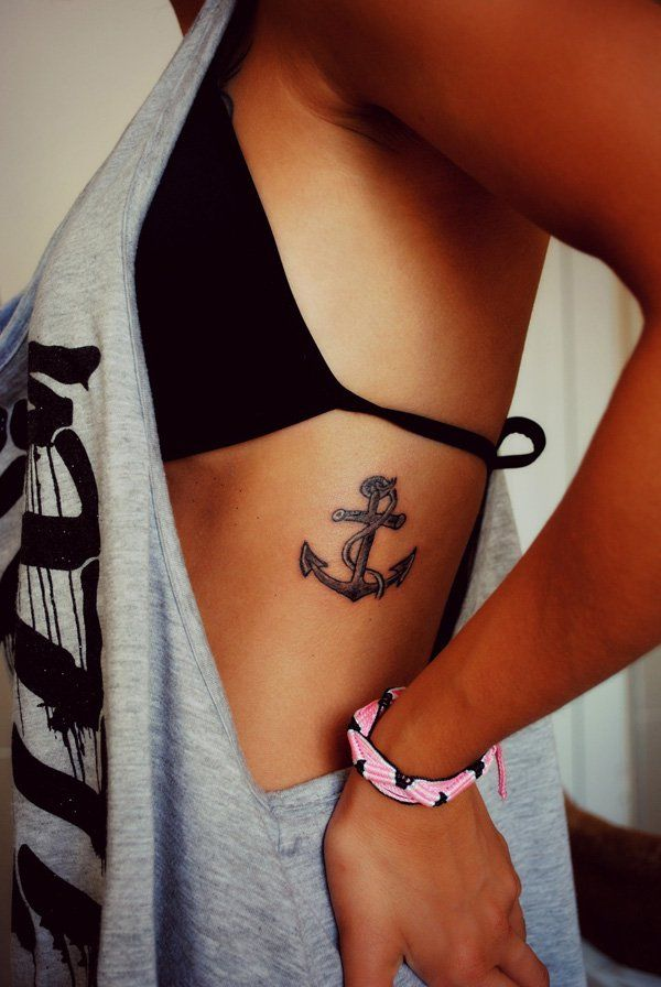 small anchor tattoo on side - 35 Awesome Anchor tattoo Designs  <3 !