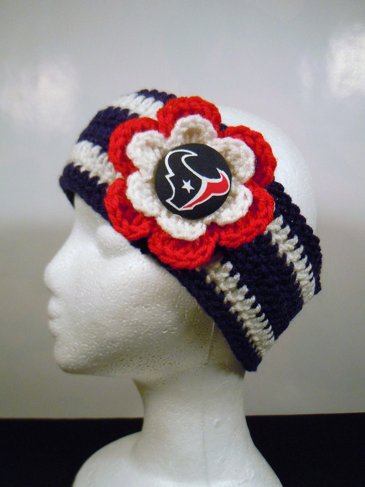 Crocheted Earwarmer Flower with Houston Texans Button. @Christy Polek Polek Hudson   What about something like this? I know you're pretty warm natured lol