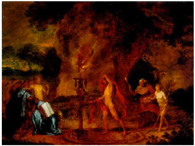 Toverijscène. Charles Emmanuel Biset, ca. 1661-1686. Een bijna naakte tovenaar staat in een magische cirkel. Hij voert en necromantisch ritueel uit. Aan de rechterzijde verschijnt een oude vrouw met een naakte dame die wordt ingewijd in de toverkunsten. Net als bij Bruegel combineert Biset zwarte magie met de weergave van hekserij. In de 16/17e eeuw is er geen onderscheid tussen toverij en hekserij. In de kunst is vooral necromantie een mannelijke en hekserij een vrouwelijke activiteit.