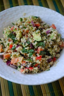 Quinoa and Avocado Salad with Lemon Tahini Dressing #healthy #vegan