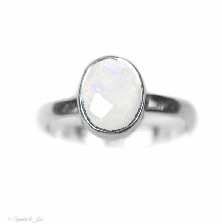 Oval Rainbow Moonstone Sterling Silver Stackable Ring