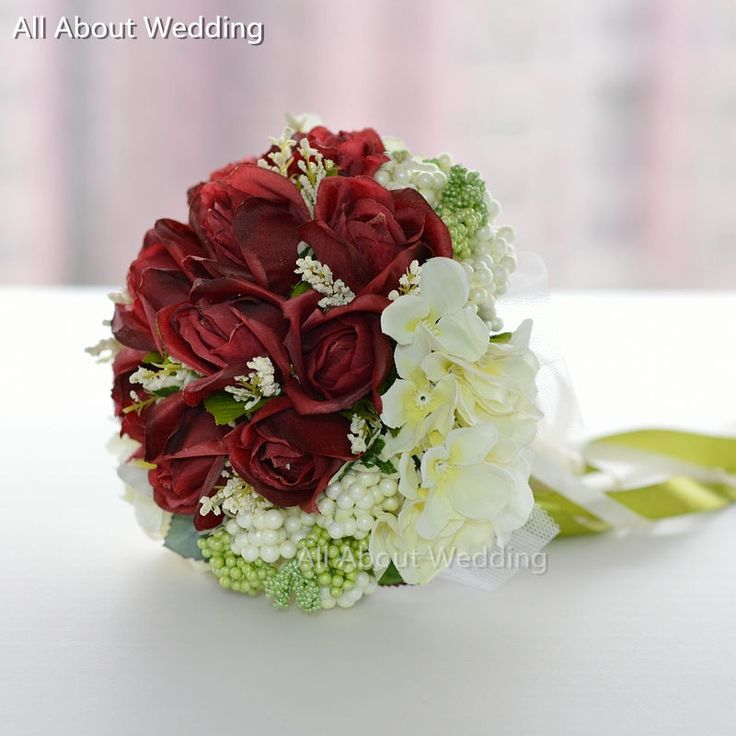 Cheap rose gold eternity ring, Buy Quality rose flower gifts directly from China rose flower Suppliers: Burgundy Red Rose Ivory Flower Bridal Bouquet with Ribbon Wedding Throw Bridesmaid Flowers
